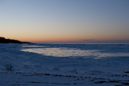 very cold: A very cold sunset in the upper north Michigan area. Stock Photo