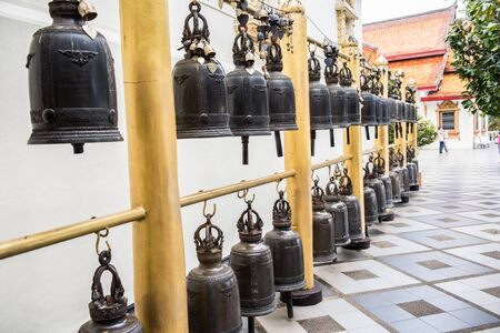 rung: Temple bells in Wat Phra That Doi Suthep in Chiang Mai province of Thailand. These bells are traditional bells in the temple, which are believed to be sacred and good if rung. Doi Suthep is the oldest temple in Thailand.