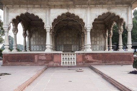 View of the Sawan or Bhadon Pavilion in Hayat Baksh Bagh of Red Fort at Delhi. Decorated with white marble, depicting Mughal artwork, this building looks stunning. Stok Fotoğraf - 50557395