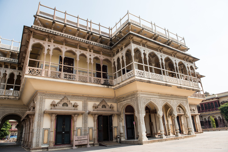 View of the famous Mubarak Mahal in City Palace, Jaipur, Rajasthan, built by Sawai Madho Singh I as a reception hall. It boasts of fine architecture and beautiful textile gallery.