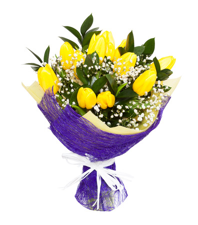 A bouqet of yellow tulips isolated on white background. Possible gift for a valentine's day or a wedding anniversary
