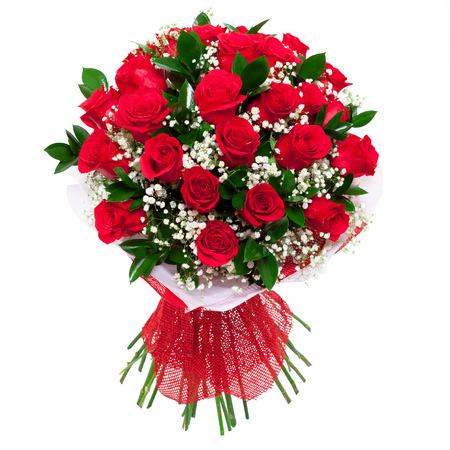 Bouquet of vivid saturated red roses. A present for a woman for birthday, valentine