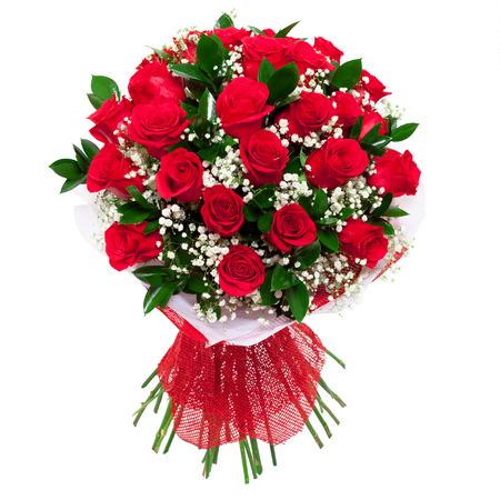 arreglo floral: Ramo de rosas rojas vivos saturados. Un regalo para una mujer para el cumpleaños, día de San Valentín Foto de archivo