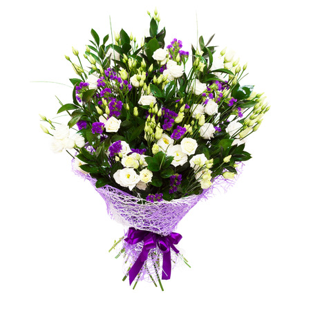 Gorgeous large bouquet of white roses and purple flowers