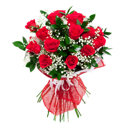 Red roses bouquet. Colorful and bright. Isolated on white background