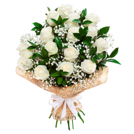 Bouquet of beautiful white roses isolated on white. A great gift to a woman for an anniversary, birthday, valentine 스톡 콘텐츠