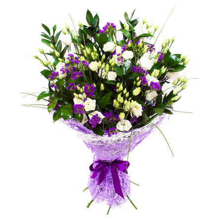 purple roses: White small roses and violet purple flowers floral composition bouquet. Stock Photo