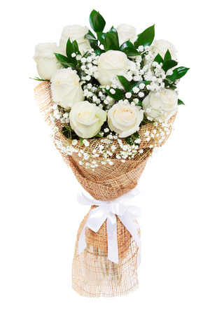 Bouquet of beautiful white roses isolated on white. A great gift to a woman for an anniversary, birthday, valentine Фото со стока