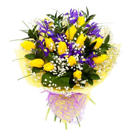 Yellow tulips flower arrangement bouquet Foto de archivo