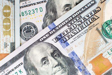 Hundred 100 dollar bills background close up detailed