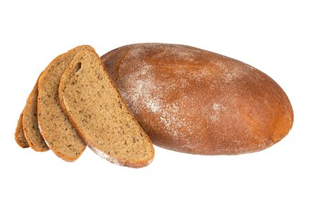 Delicious fresh wheat bread isolated on white background