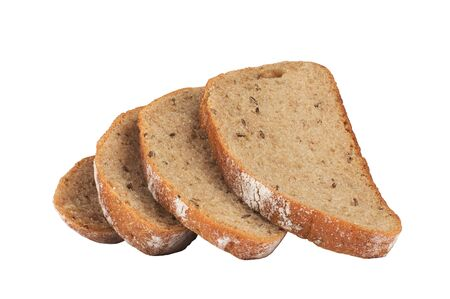 Sliced wheat bread loaf isolated on white background