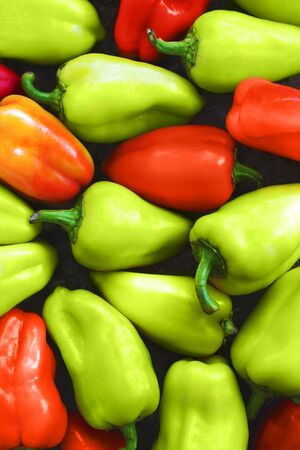 Colorful organic heirloom sweet bell peppers Фото со стока