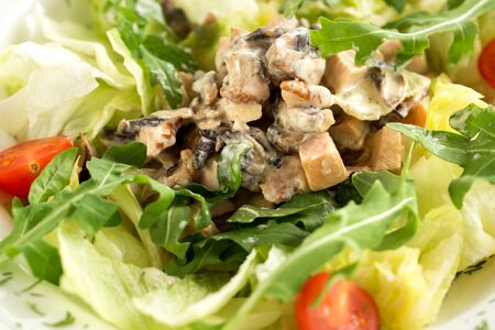 Diet healthy salad with chicken and arugula