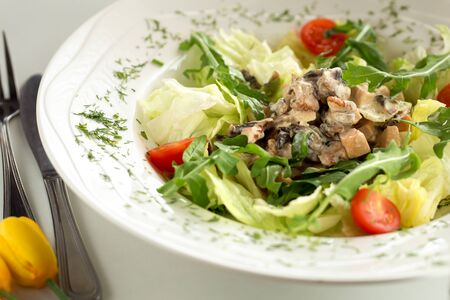 Tasty and healthy salad with chicken and arugula