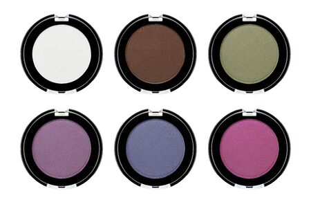 Assorted colors satin blusher or eyeshadow isolated on white background
