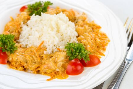 Tasty breakfast rice with stew. Shallow depth of field Фото со стока