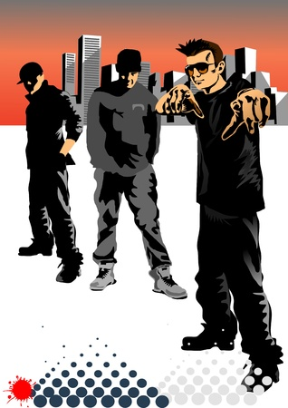 raperos: raperos hip hoper en la ciudad de la banda Vectores