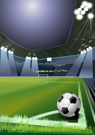 stade de football: ballon de soccer sur le terrain du stade avec la lumi�re. coin de football Illustration