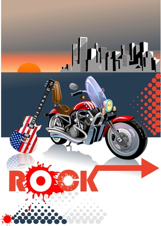 famous star: rock, guitar and motorcycle. city in sunset