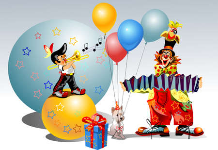 entertainment funny: two celebratory clowns and dog sing song Illustration