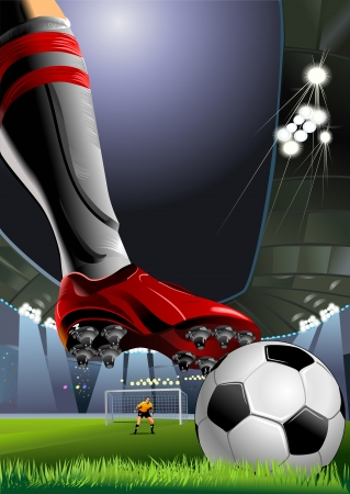 soccer player preparing for kick the ball. goalkeeper preparing for penalty kick  Vector