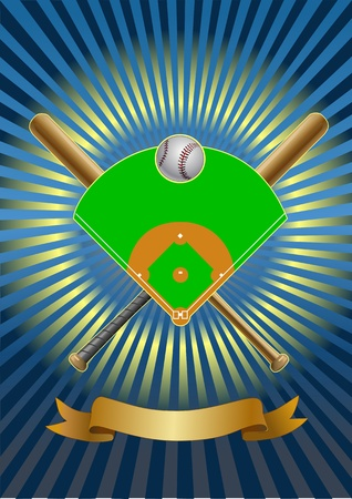 baseball field. baseball bat. baseball ball. gerb Illustration