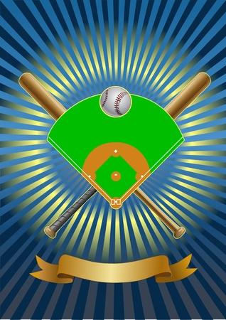 baseball field. baseball bat. baseball ball. gerb Illustration