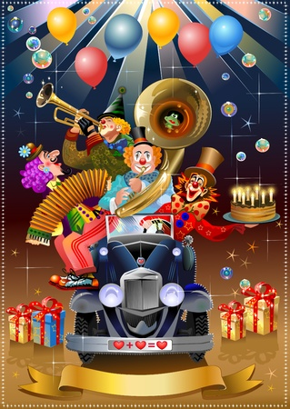 circus elephant: festive clowns in the car of love playing trumpet and harmonica