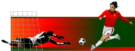 tackles: soccer player and goalkeepersoccer player kick the ball. goalkeeper catch the ball