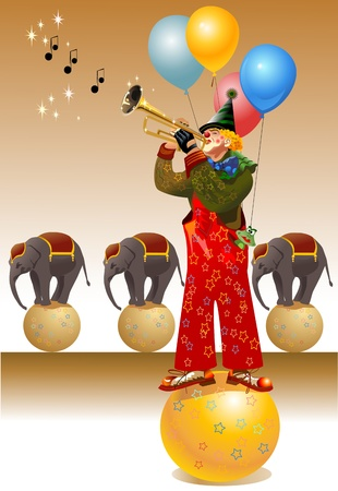 circus: celebratory clown playing trumpet. the elephants are dancing on the balls