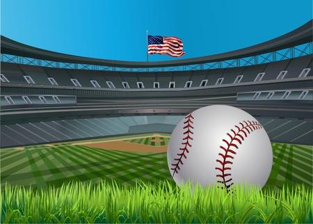 Pelota de béisbol y estadio de béisbol y un diamante de béisbol con hierba verde