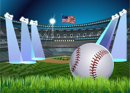 campo de beisbol: Bola de béisbol y el estadio de béisbol y un diamante de béisbol con pasto verde   Vectores
