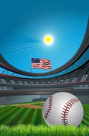baseball diamond: B�isbol y pelota de b�isbol del estadio y un campo de b�isbol con la hierba verde