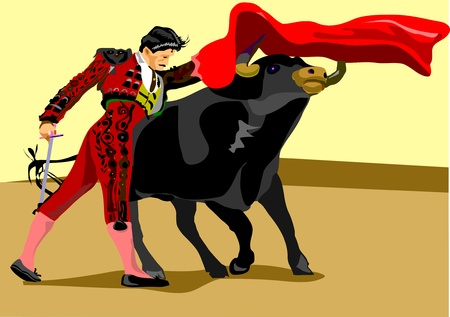 spanish bull: Spanish Matador and black Spanish bull