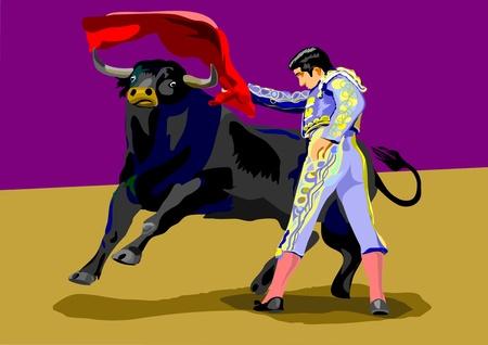 Spanish Matador and black Spanish bull