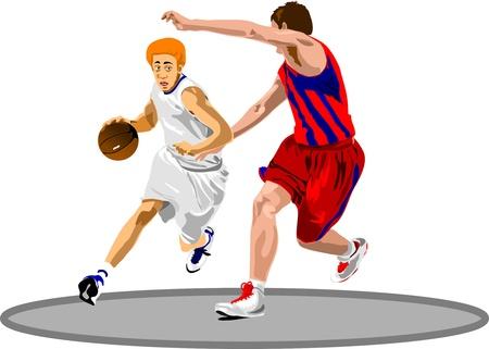 Basketball Players. Easy change colors.