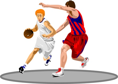 Basketball Players. Easy change colors.  Vector
