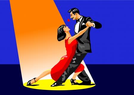 poise: Ilustraci�n de una pareja bailando tango