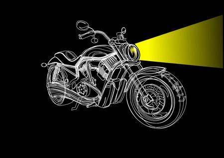 motociclista: motocicleta en la noche con un toque light