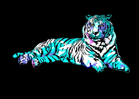 Lonely Siberian tiger lying on the ground. Abstract colored spots.