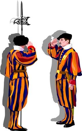 rome italie: Garde suisse au Vatican. Rome, Italie Illustration