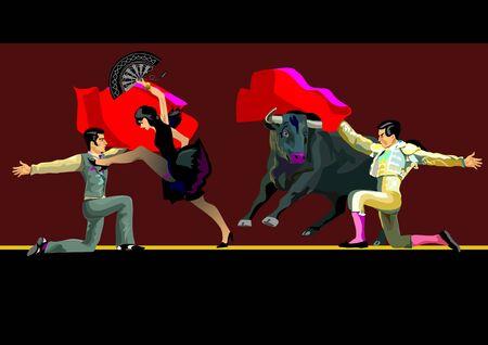 Beautiful couple dancing tango. Bullfighter fights with a bull Illusztráció