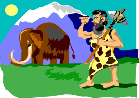 a cudgel: caveman preparing to attack the mammoth