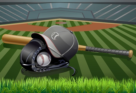 Baseball ball in a Glove with Bat  Illustration
