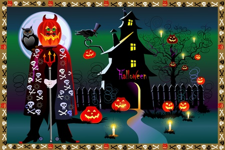 mansion: Pumpkin Halloween Card with old house and moon  Illustration