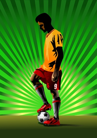 football player preparing for a penalty. penalty kick Illustration