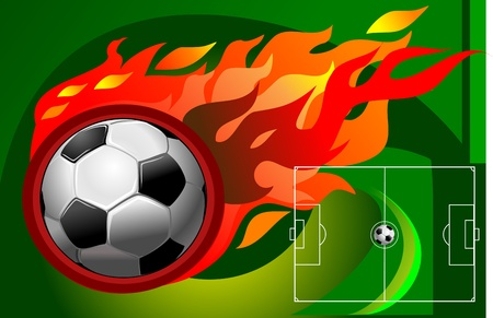 Soccer fireball and the soccer field.  Stock Vector - 11826672