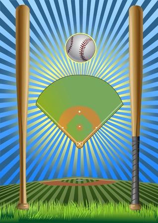 Baseball field. baseball bat. baseball ball