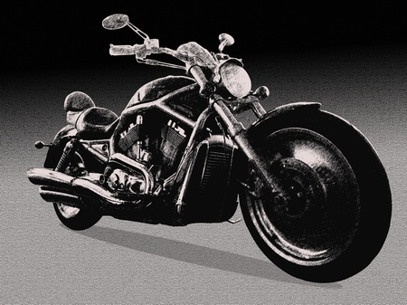 monochrome sketch of a motorcycle Stock Photo